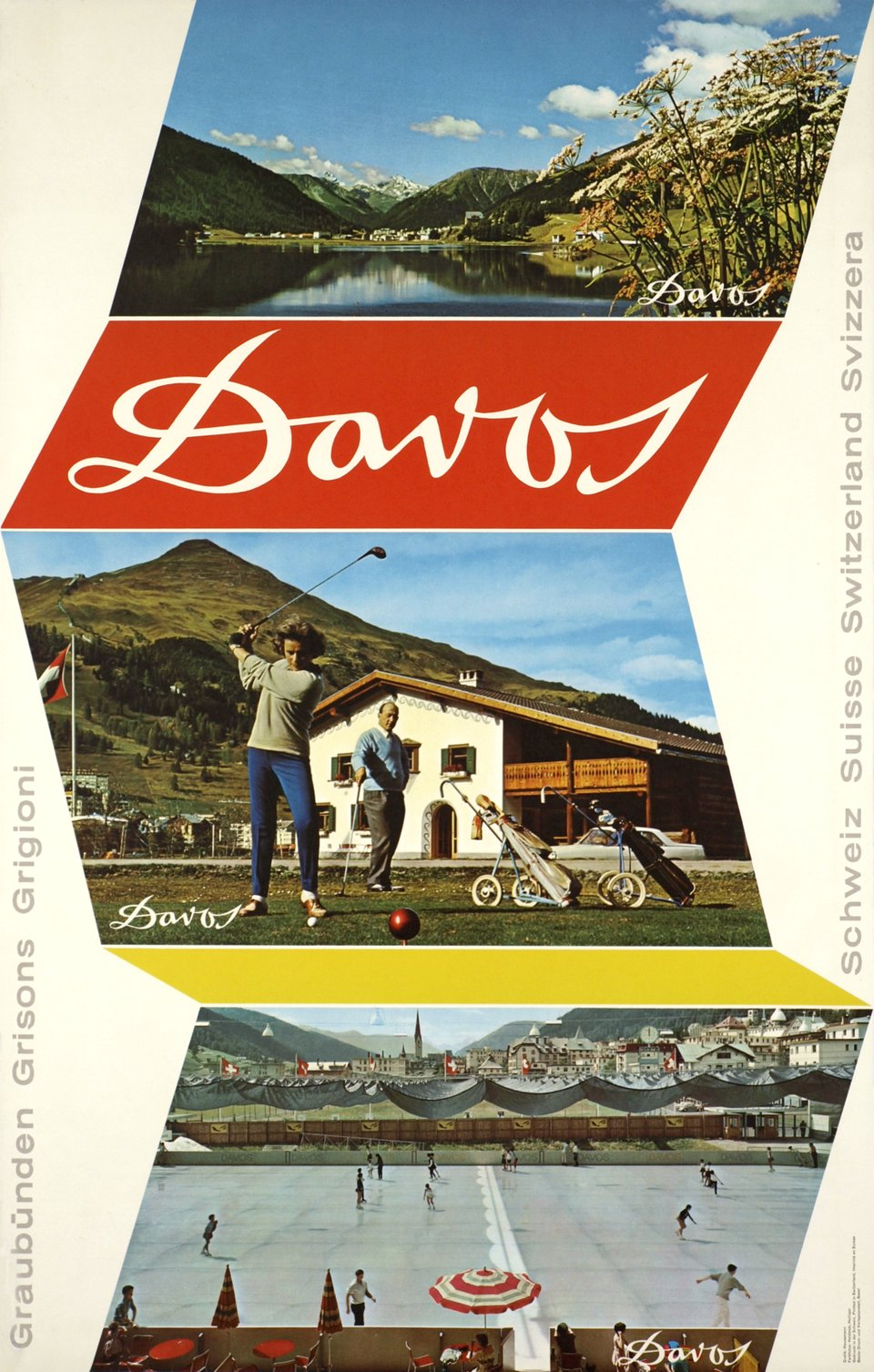 Davos, Golf and Ice-skating. – Affiche ancienne – Wolfgang HAUSAMANN – 1962