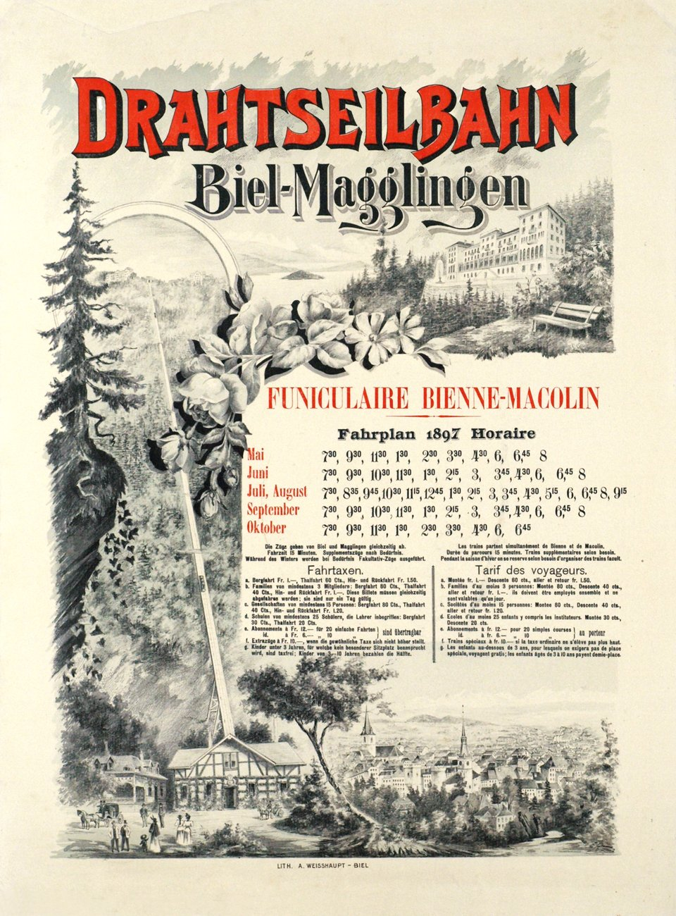 Drahtseilbahn Biel Magglingen - Funiculaire  Bienne Macolin – Affiche ancienne –  ANONYME – 1897