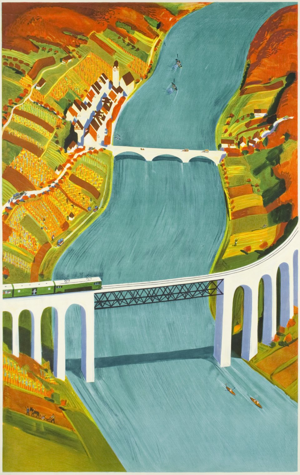 Eglisau bridge, before the letter – Vintage poster – Otto BAUMBERGER – 1940