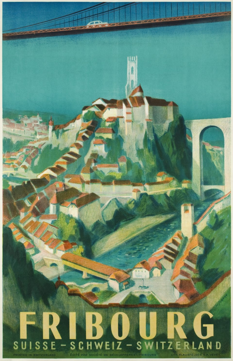 Fribourg – Affiche ancienne – Willy JORDAN – 1945