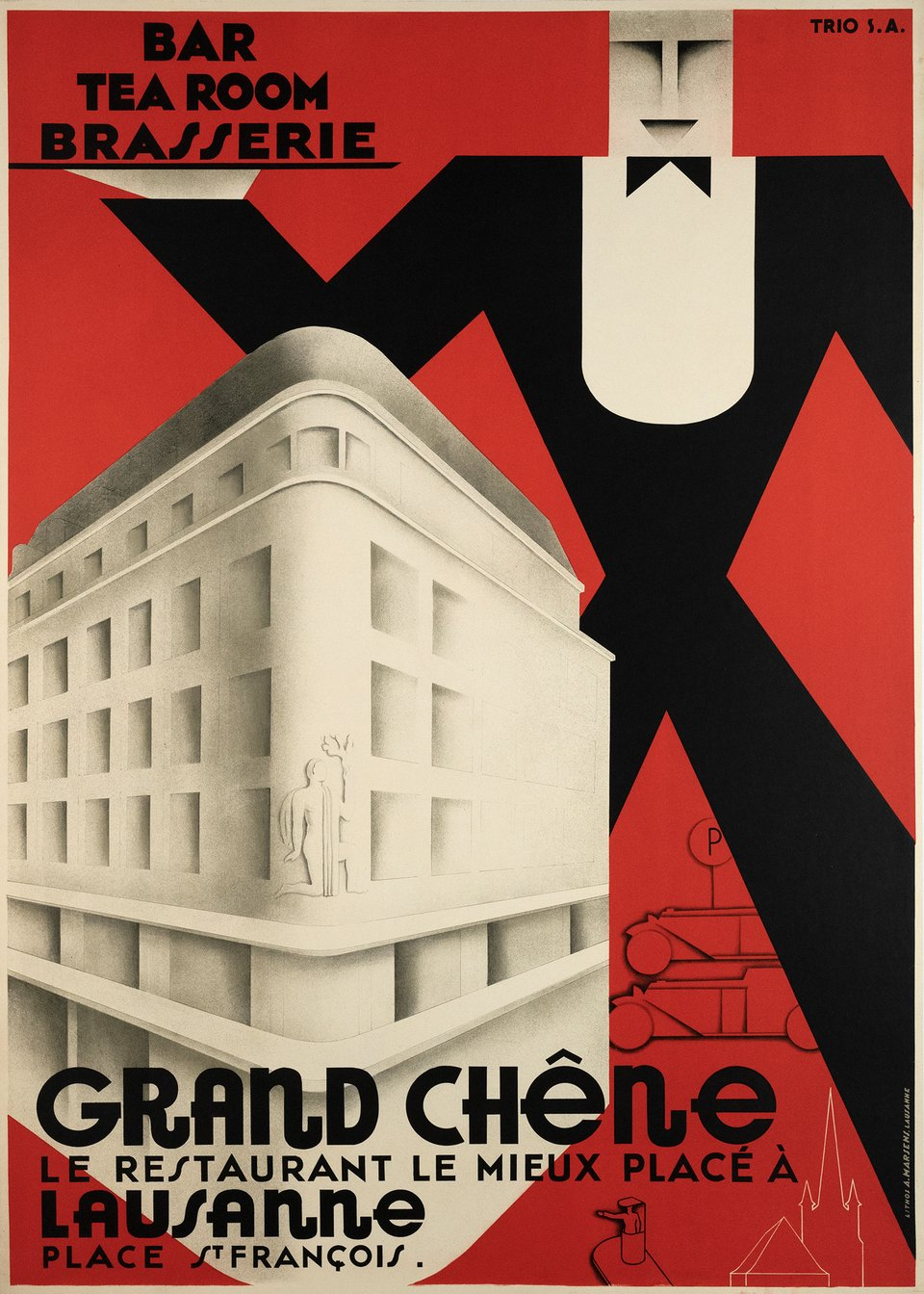 """Grand-Chêne"", Bar, Tea room, Restaurant, Lausanne – Vintage poster – TRIO – 1930"