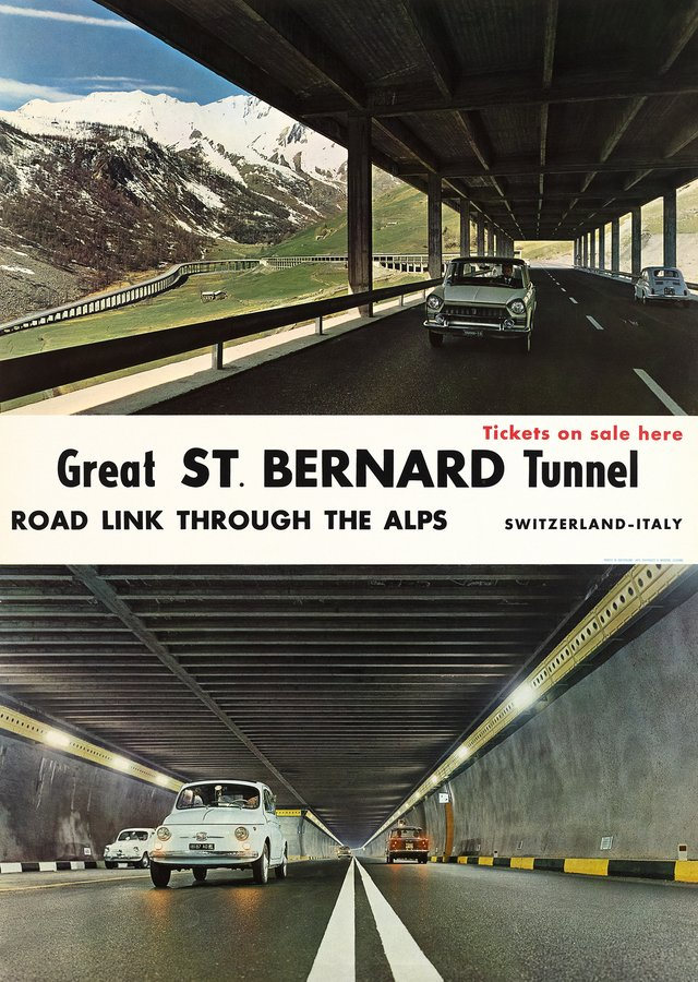 Great St. Bernard Tunnel, Road link through the Alps, Switzerland - Italy