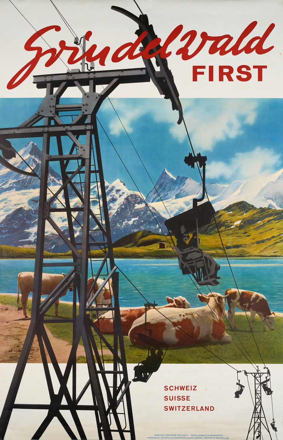Grindelwald First – Affiche ancienne – Ernst BOCCHETTI, Adolf FLUCKIGER – 1950