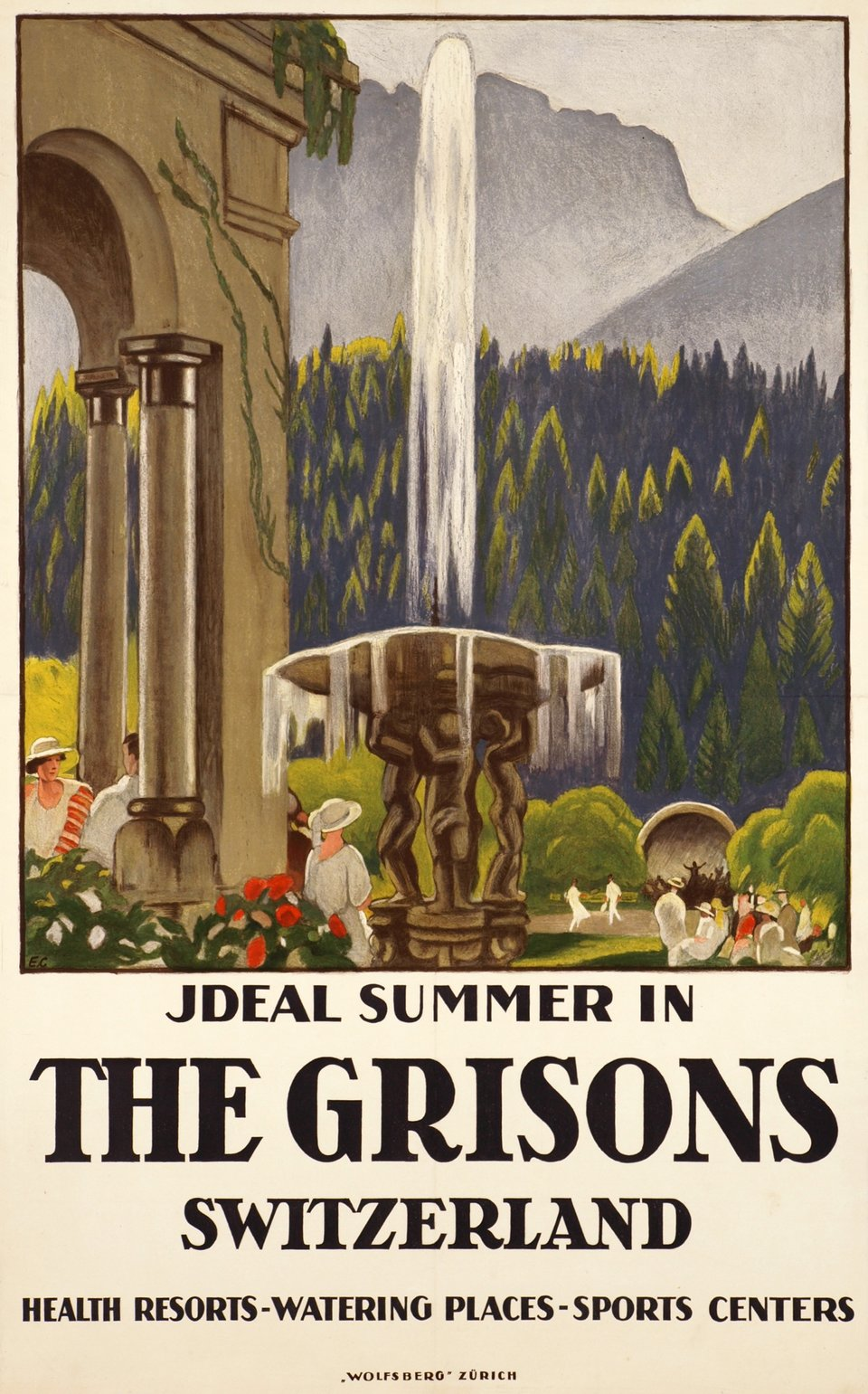 Grisons, Ideal summer in The Grisons, Switzerland – Vintage poster – Emil CARDINAUX – 1923