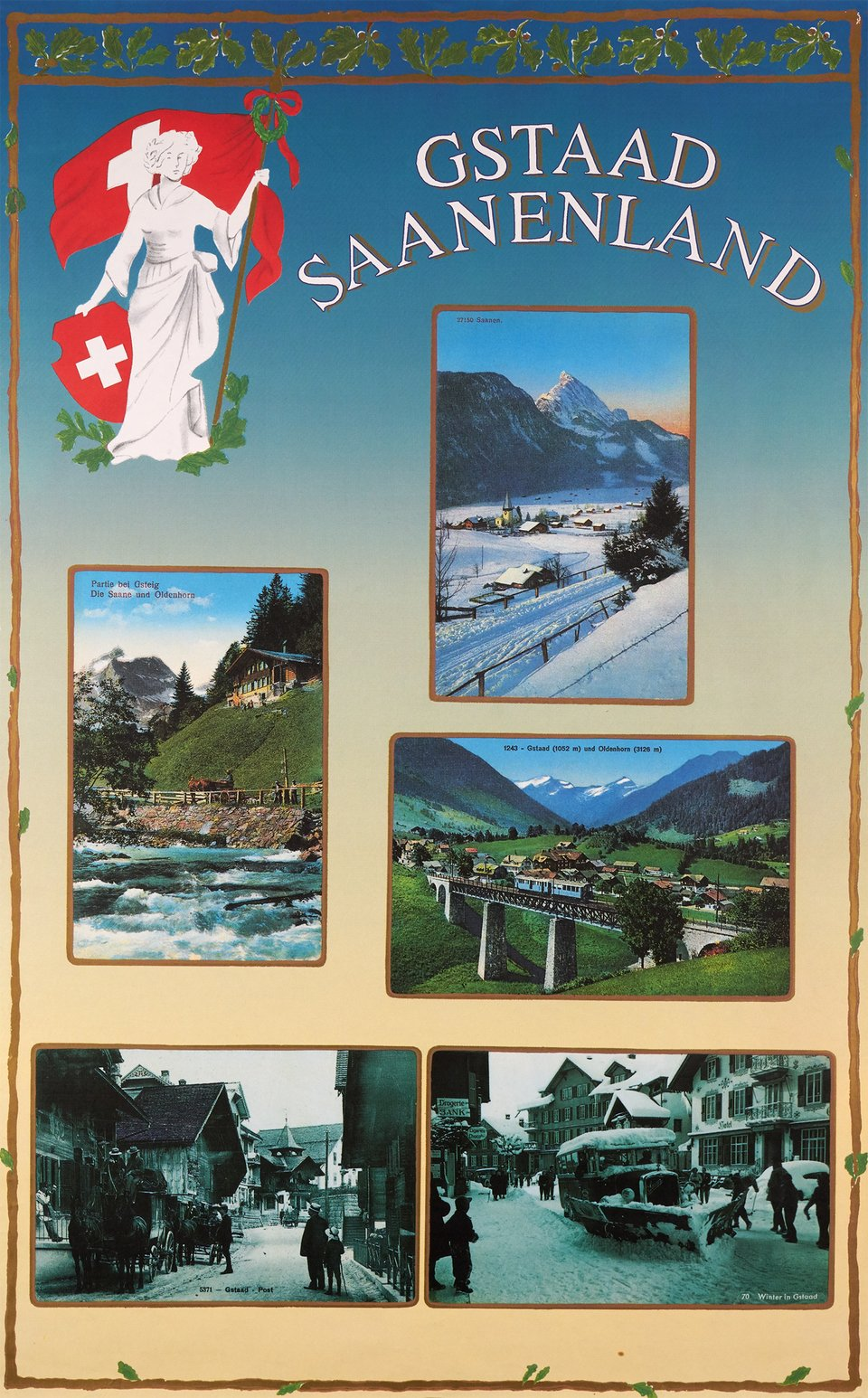 Gstaad Saanenland – Vintage poster – ANONYMOUS – 1975