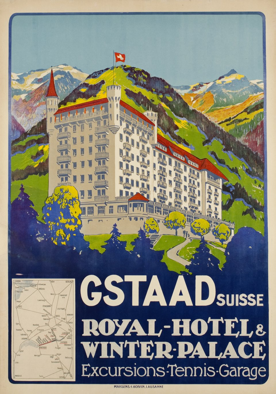 Gstaad Suisse - Royal-Hôtel & Winter Palace, Excursion-Tennis-Garage – Vintage poster –  ANONYME, Carlo PELLEGRINI – 1913