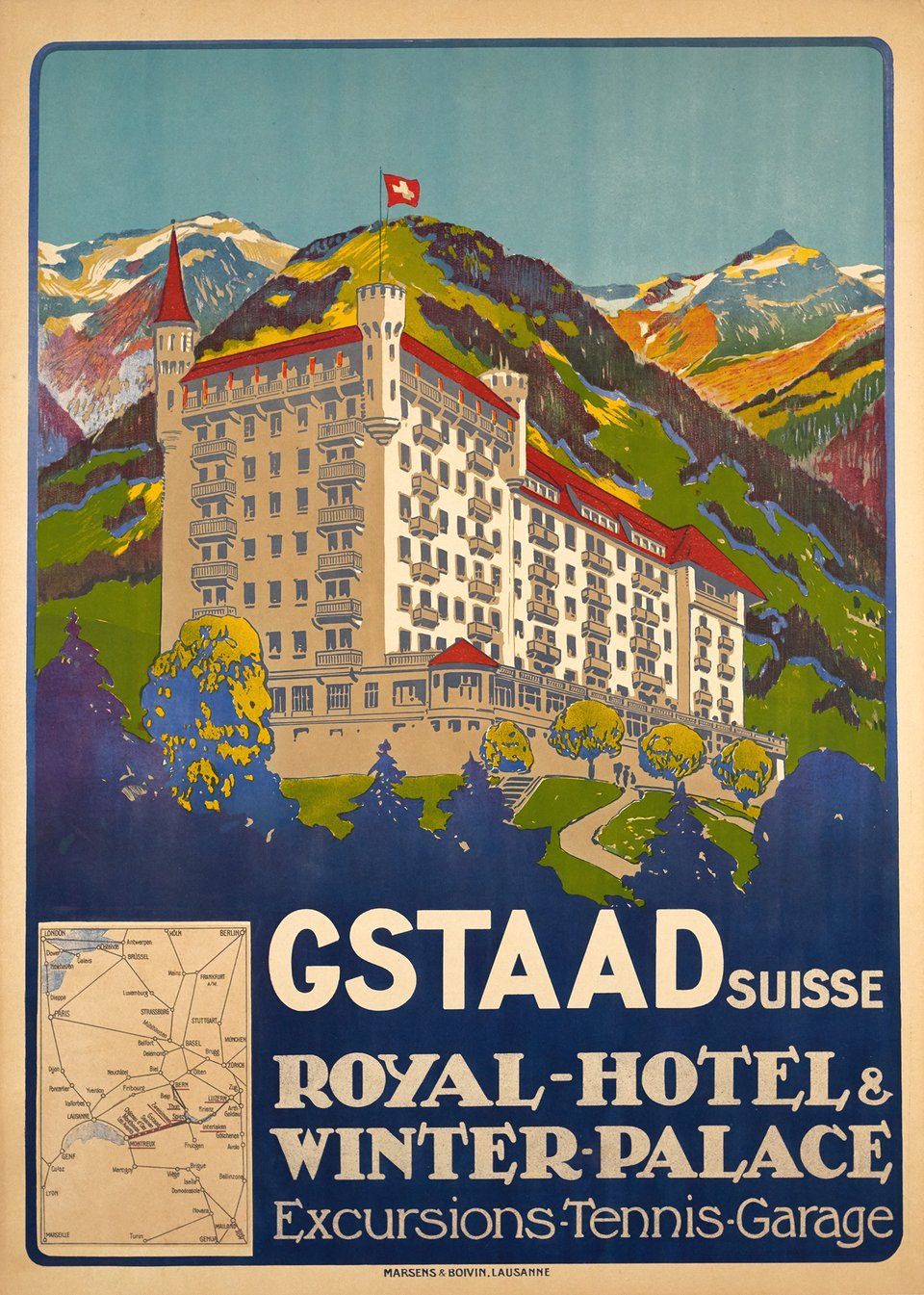 Gstaad Suisse - Royal-Hôtel & Winter Palace, Excursion-Tennis-Garage – Affiche ancienne – Carlo PELLEGRINI – 1913