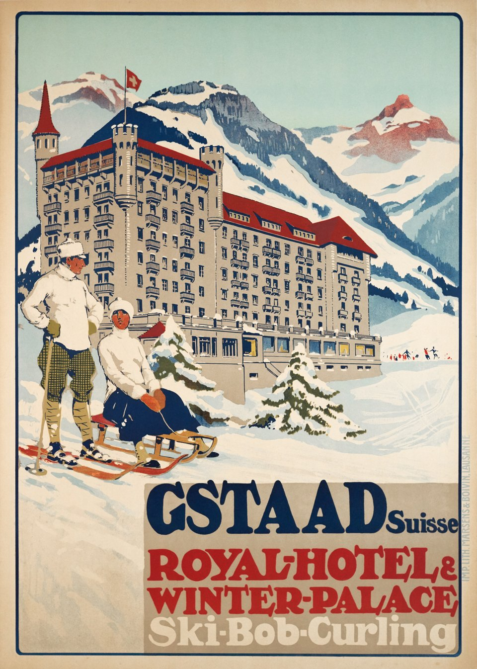 Gstaad Suisse - Royal Hôtel & Winter Palace - Ski-Bob-Curling – Affiche ancienne – Carlo PELLEGRINI – 1913