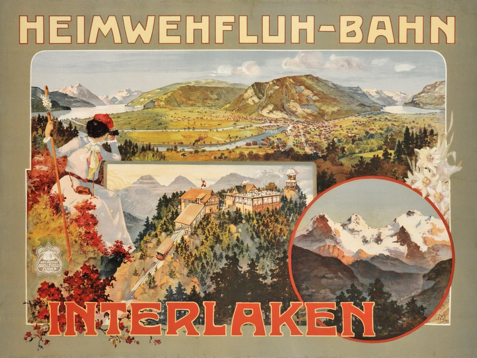 Heimwehfluh-Bahn, Interlaken – Affiche ancienne – MONOGRAM – 1900