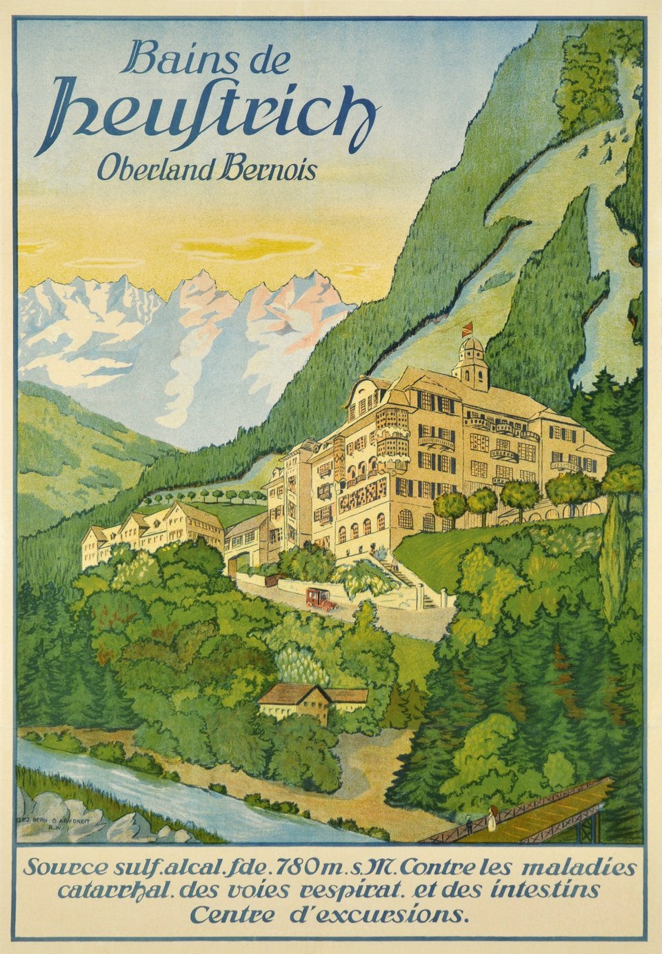 Heustrich Bains , Oberland Bernois. – Affiche ancienne – ANONYME – 1915