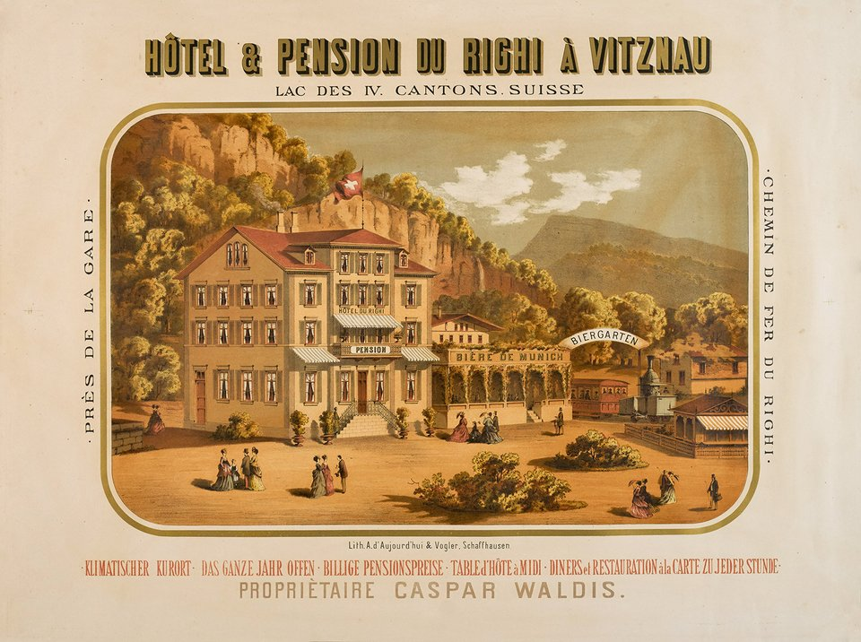 Hôtel & pension du Righi à Vitznau – Vintage poster – ANONYMOUS – 1880