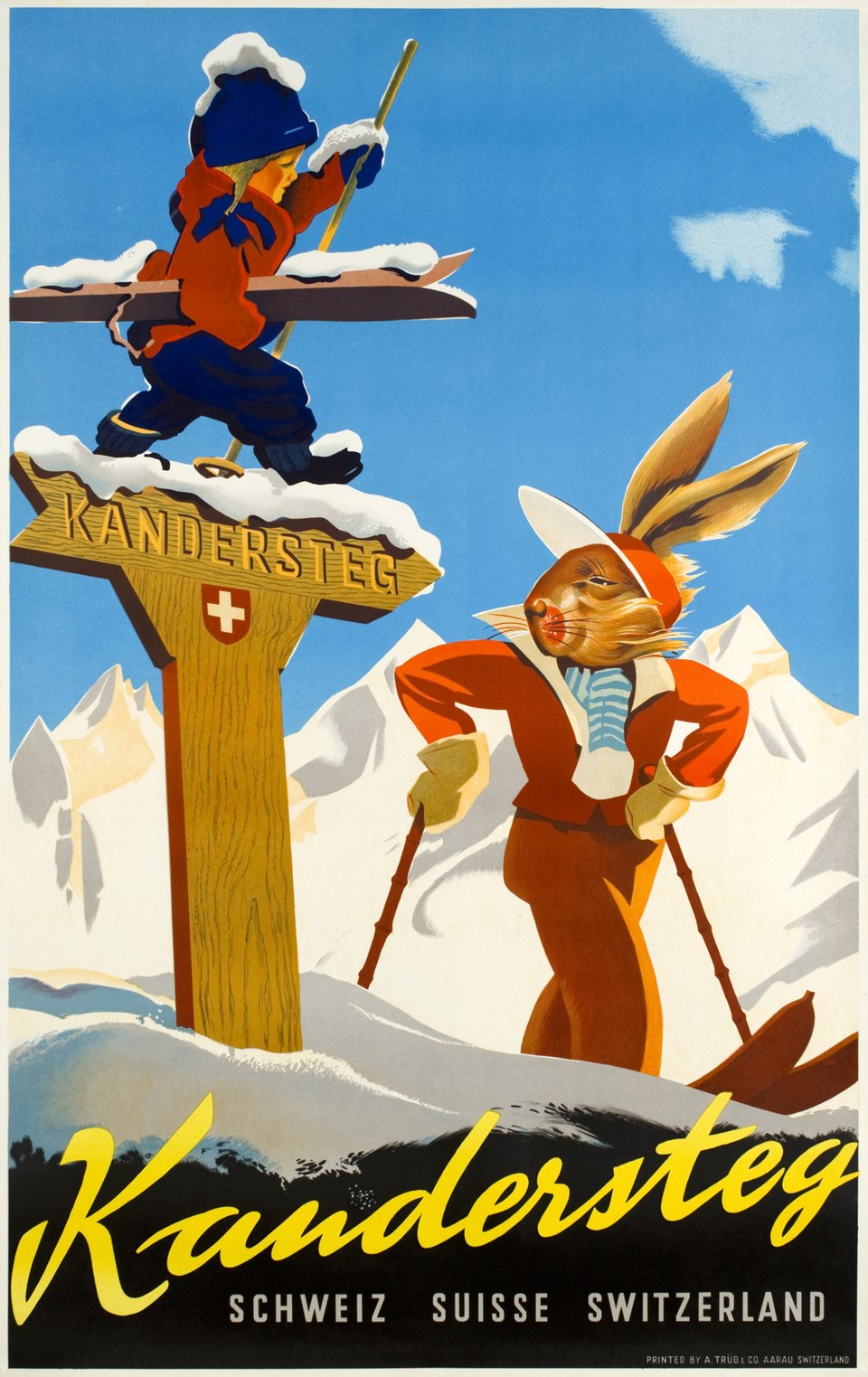 Kandersteg, Schweiz - Switzerland - Suisse – Affiche ancienne – Willi TRAPP – 1935