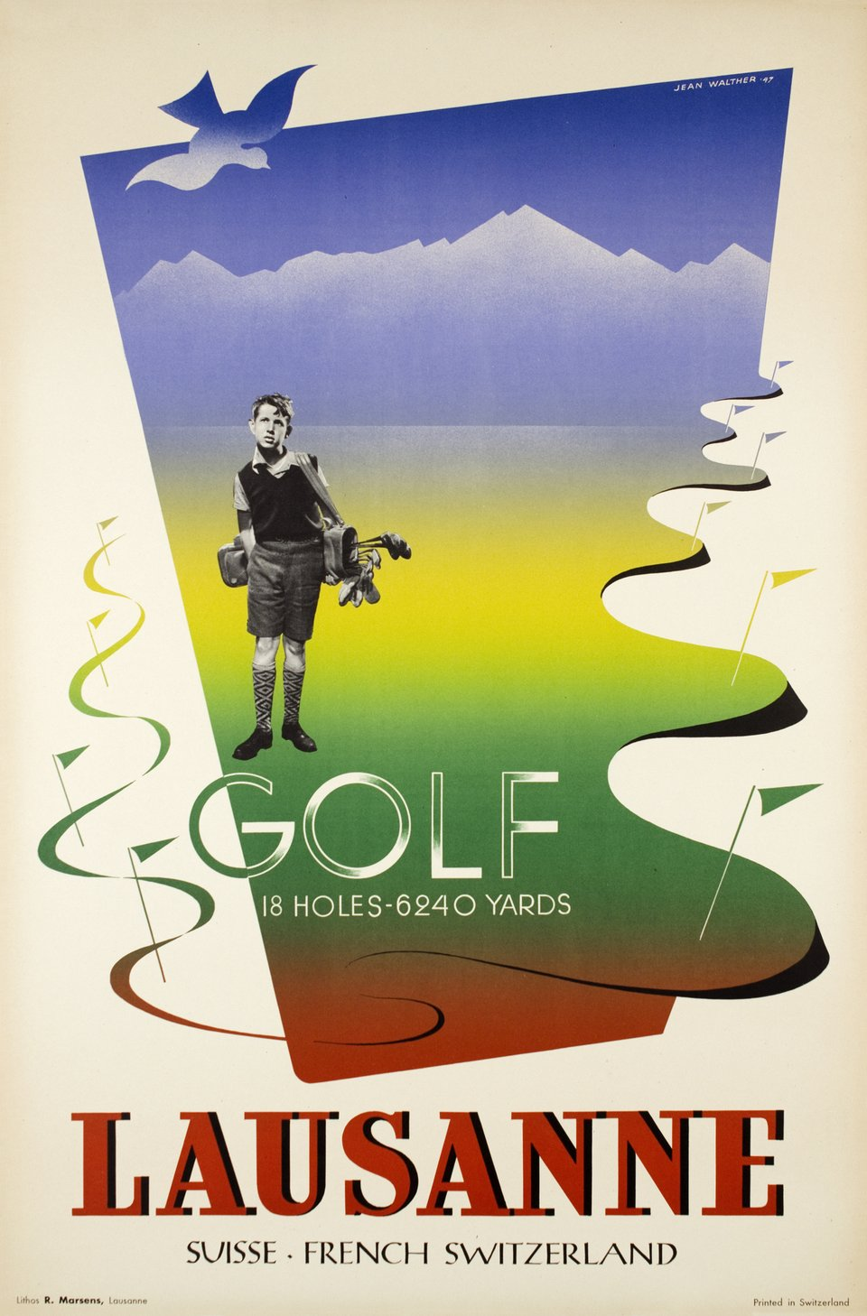 Lausanne Golf 18 holes , Suisse, French Switzerland – Affiche ancienne – Jean WALTHER – 1947