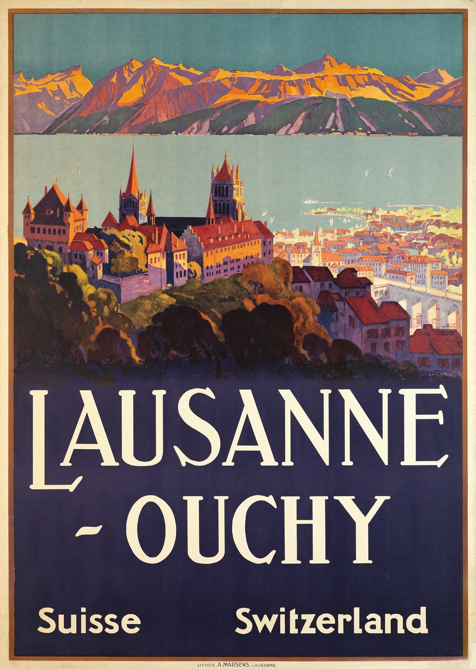 Lausanne-Ouchy – Vintage poster – Johannes Emil MÜLLER – 1929