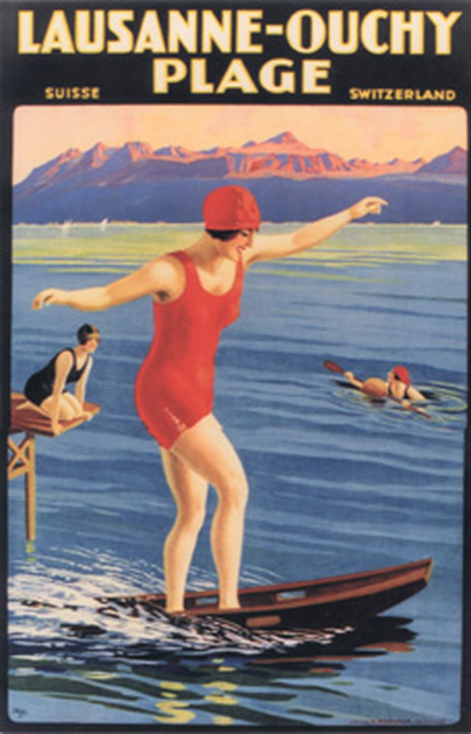Lausanne-Ouchy, Plage – Affiche ancienne – Johannes Emil MÜLLER – 1926