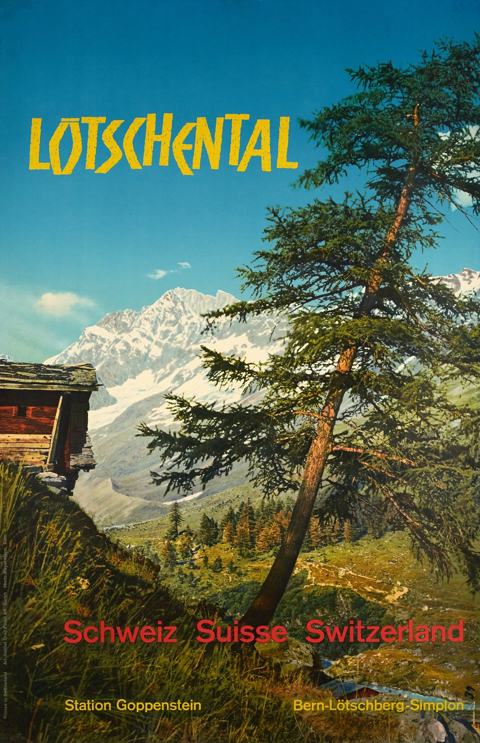 Lötschental BLS, Schweiz, Suisse, Switzerland – Affiche ancienne –  MEYER-HENN – 1960