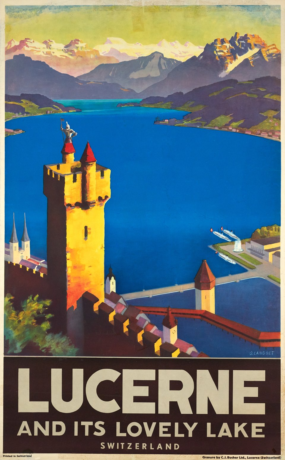 Lucerne and its lovely lake, Switzerland – Vintage poster – Otto LANDOLT – 1935