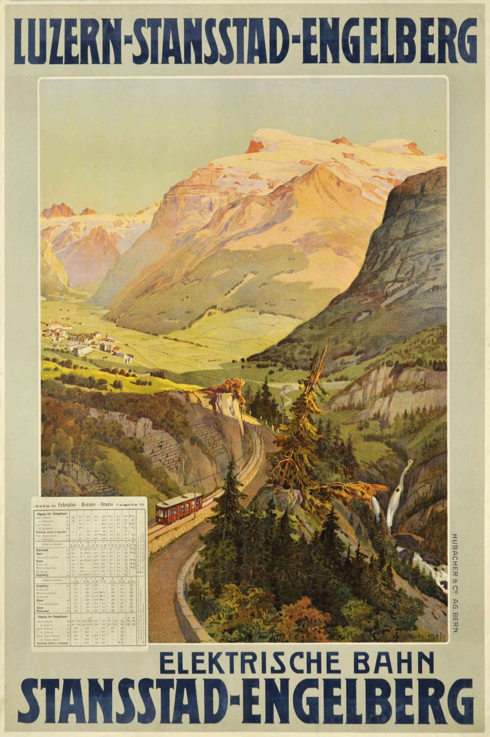 Luzern - Stansstad - Engelberg, Elektrische Bahn, time table 1910. – Affiche ancienne – Anton RECKZIEGEL – 1910
