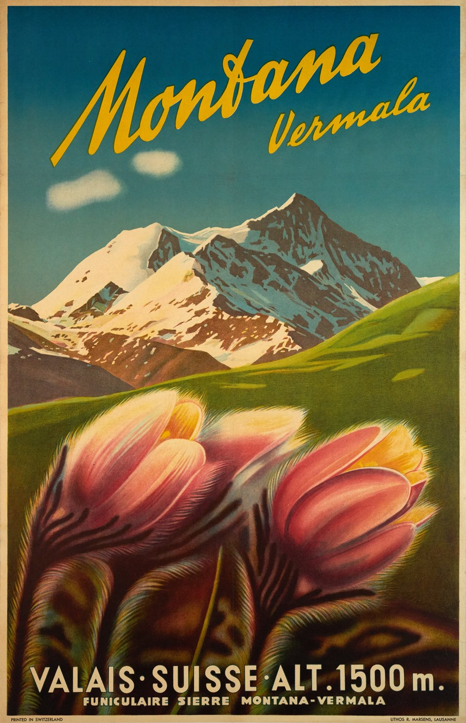 Montana Vermala, Valais Suisse – Vintage poster – ANONYME – 1945