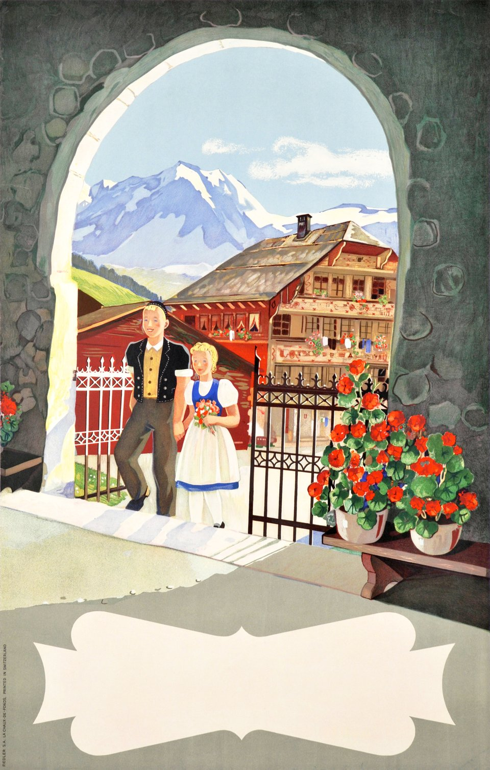 Montreux Oberland Bernois, before letter – Affiche ancienne – ANONYMOUS – 1940