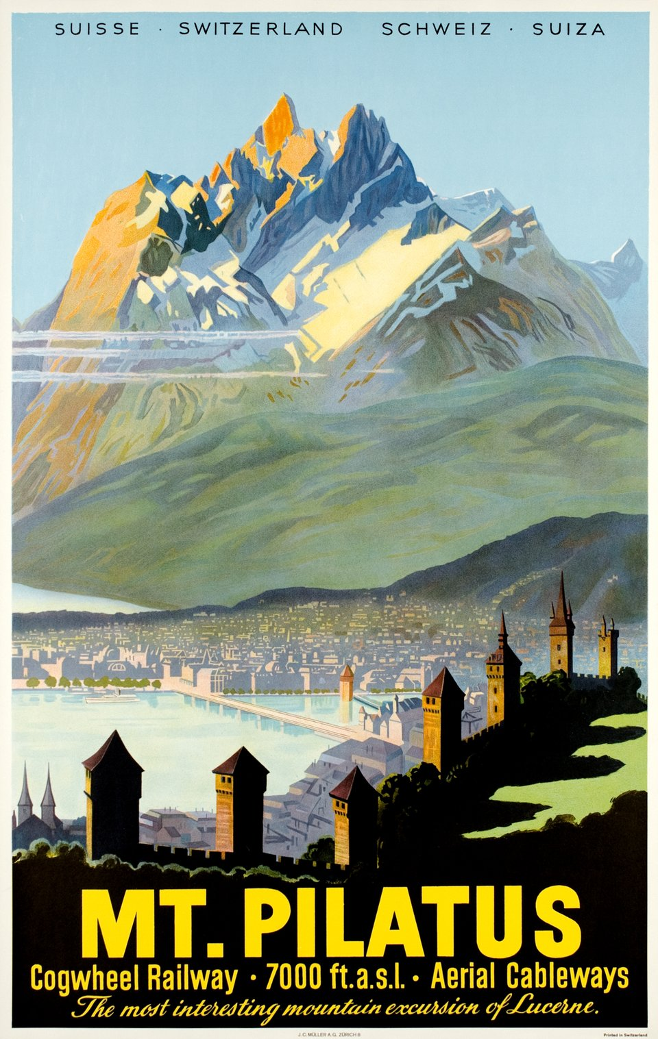 Mt Pilatus, cogwheel railway and aerial cableways – Affiche ancienne –  ANONYME – 1955