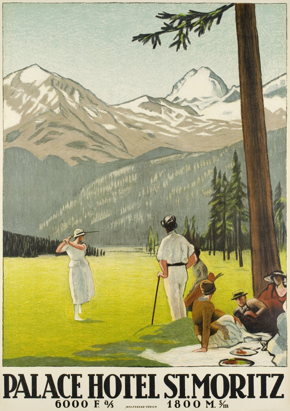 Palace Hotel St. Moritz, Golf – Vintage poster – Emil CARDINAUX – 1921