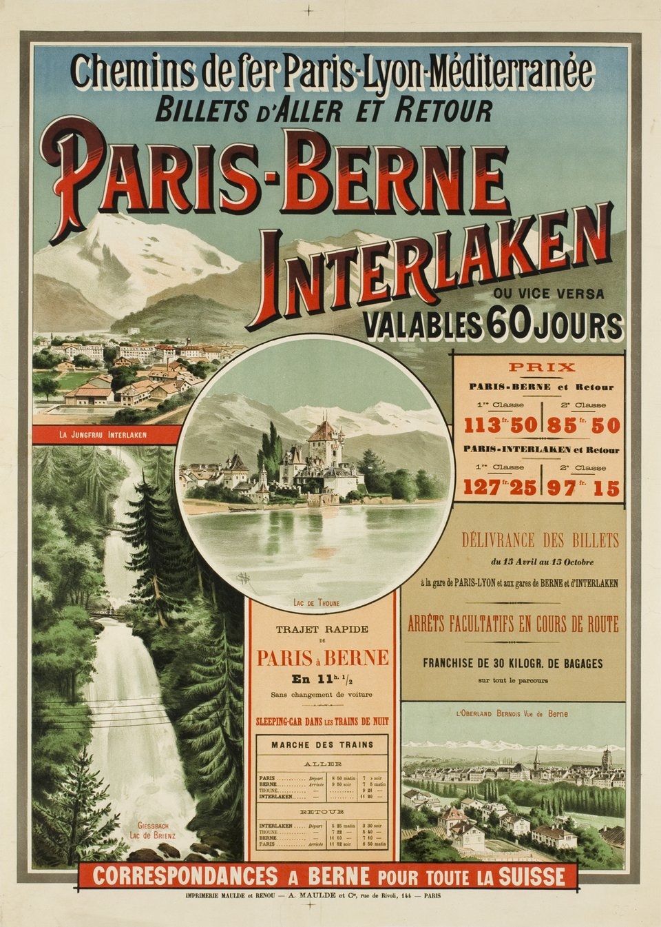 Paris-Berne-Interlaken PLM – Affiche ancienne –  SM – 1900