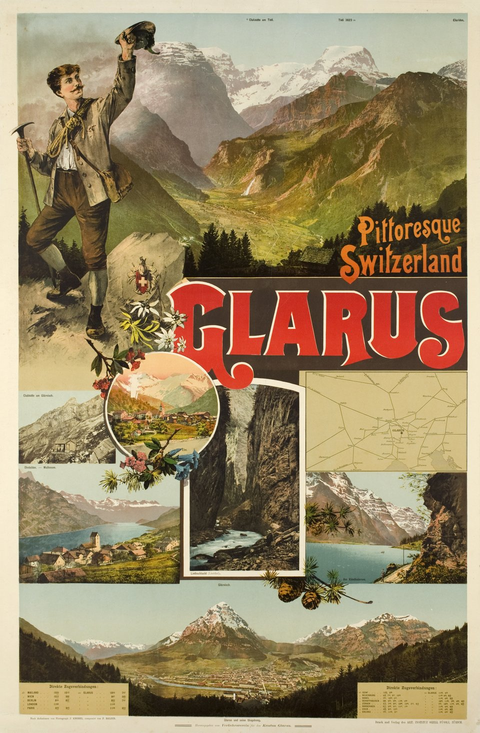 Pittoresque Switzerland, Glarus, Elm, Wallensee – Affiche ancienne – P. BALZER – 1895