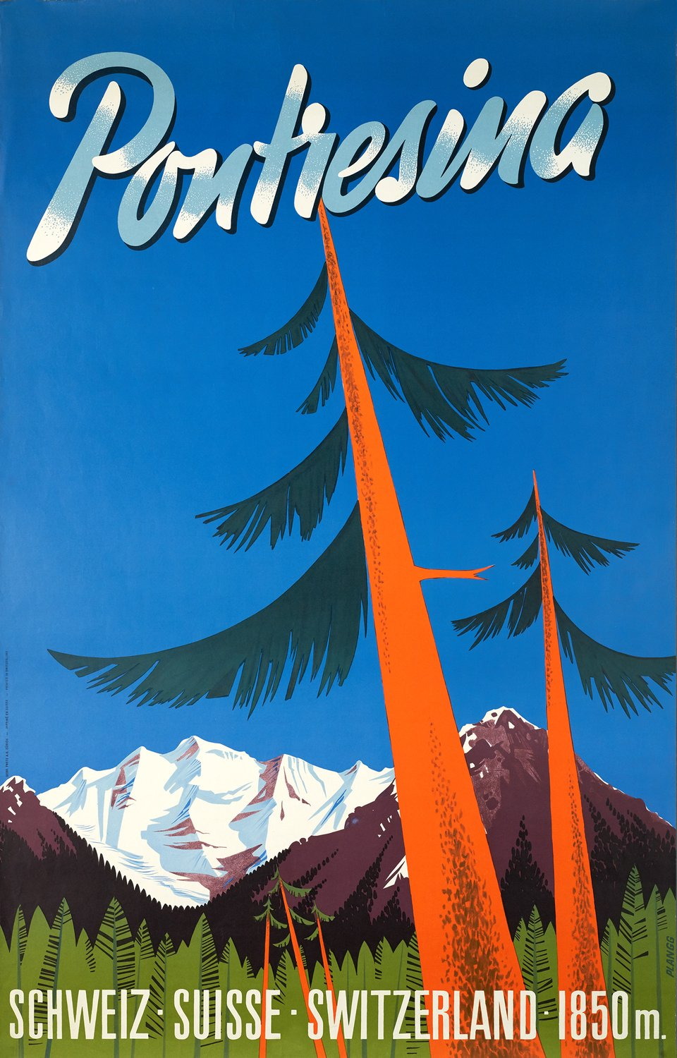 Pontresina – Affiche ancienne – PLANGG – 1950
