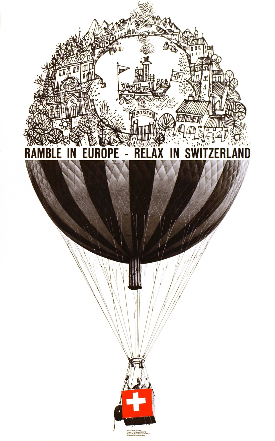 Ramble in Europe - Relax in Switzerland – Affiche ancienne – Phillippe GIEGEL, Hans KÜCHLER – 1963