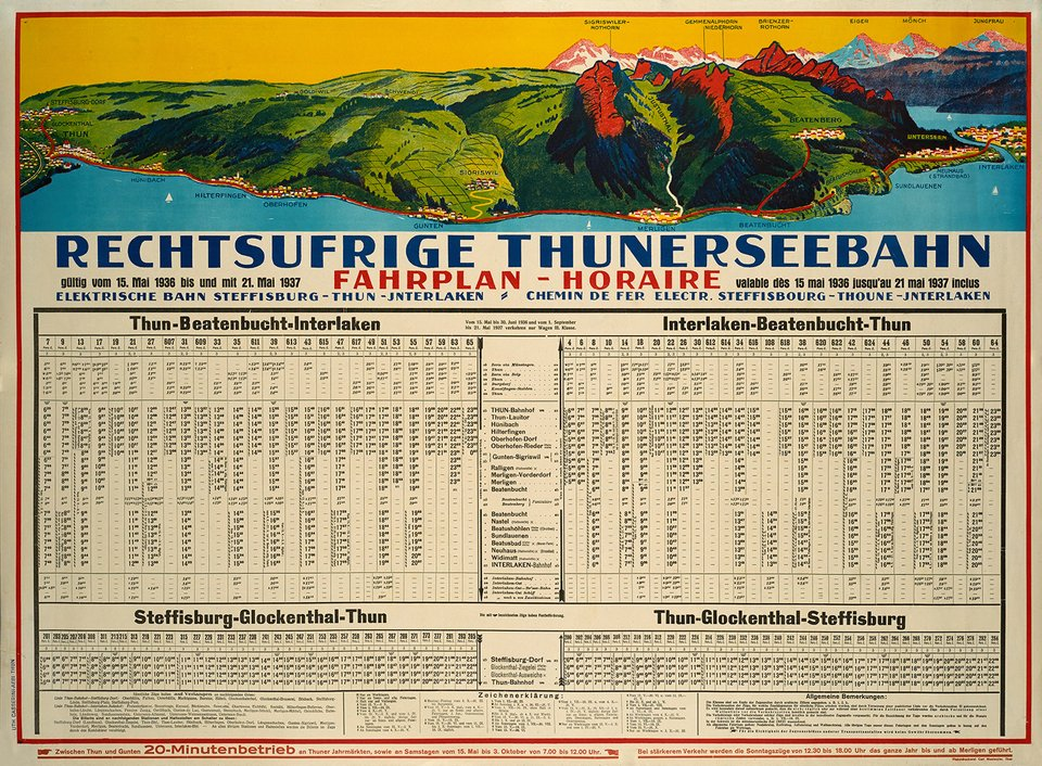 Rechtsufrige Thunerseebahn – Affiche ancienne – ANONYME – 1936
