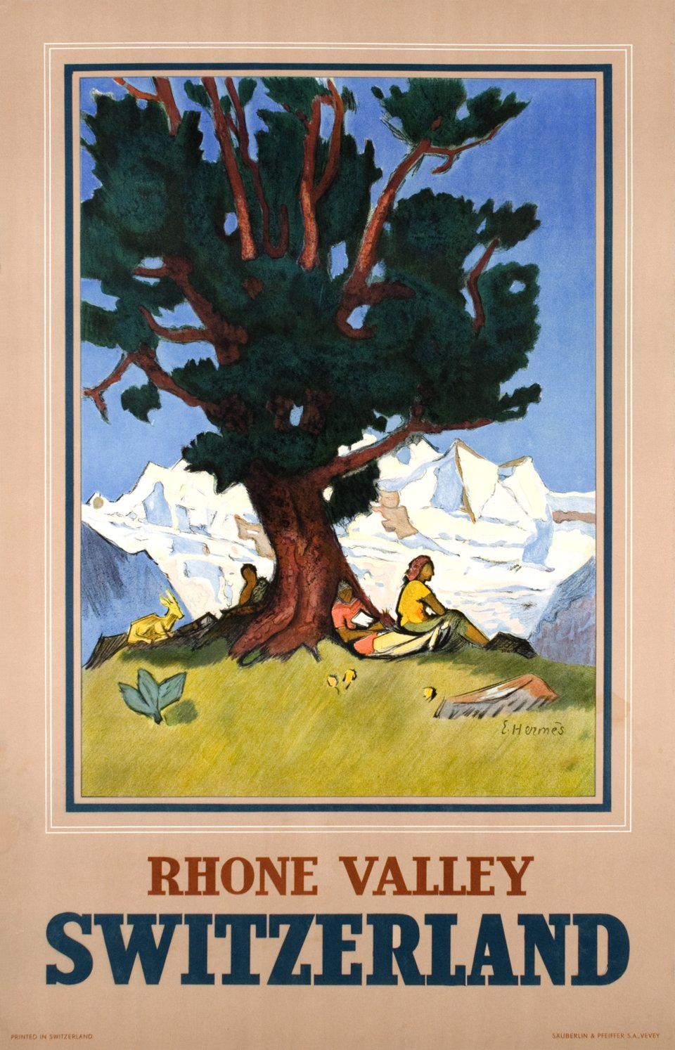 Rhone Valley, Switzerland – Vintage poster – Eric HERMES – 1947