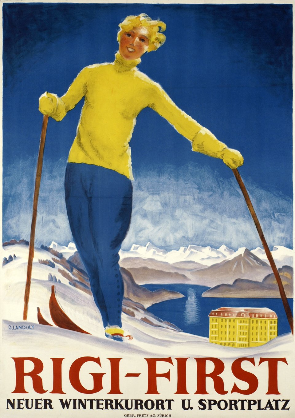 Rigi-First – Affiche ancienne – Otto LANDOLT – 1929