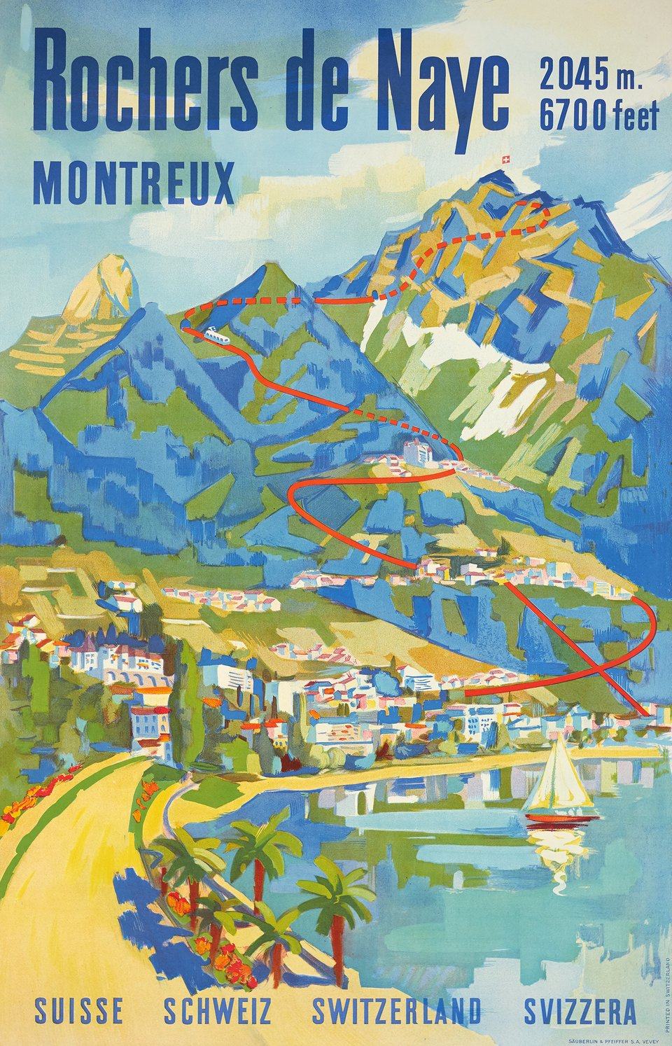 Rochers de Naye – Affiche ancienne –  ANONYME – 1950