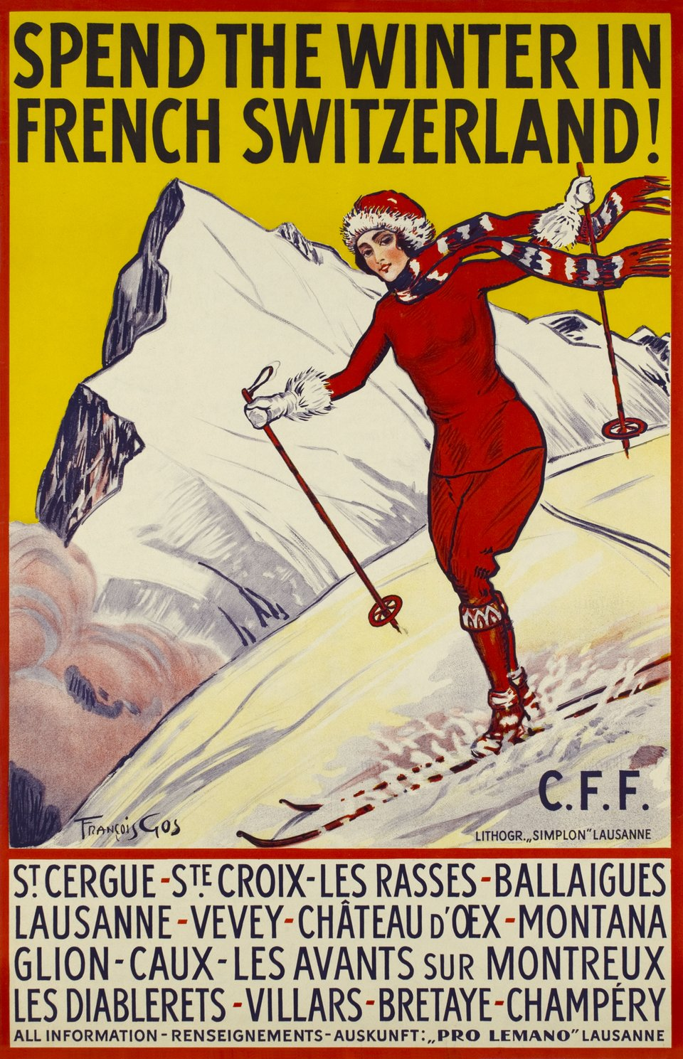 Spend the winter in French Switzerland ! – Vintage poster – Francois GOS – 1915