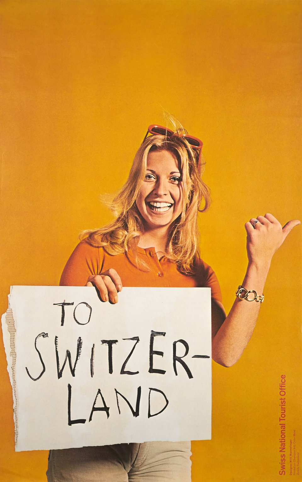 Swiss National Tourist Office, To Switzerland – Affiche ancienne – Willi WERMELINGER – 1970