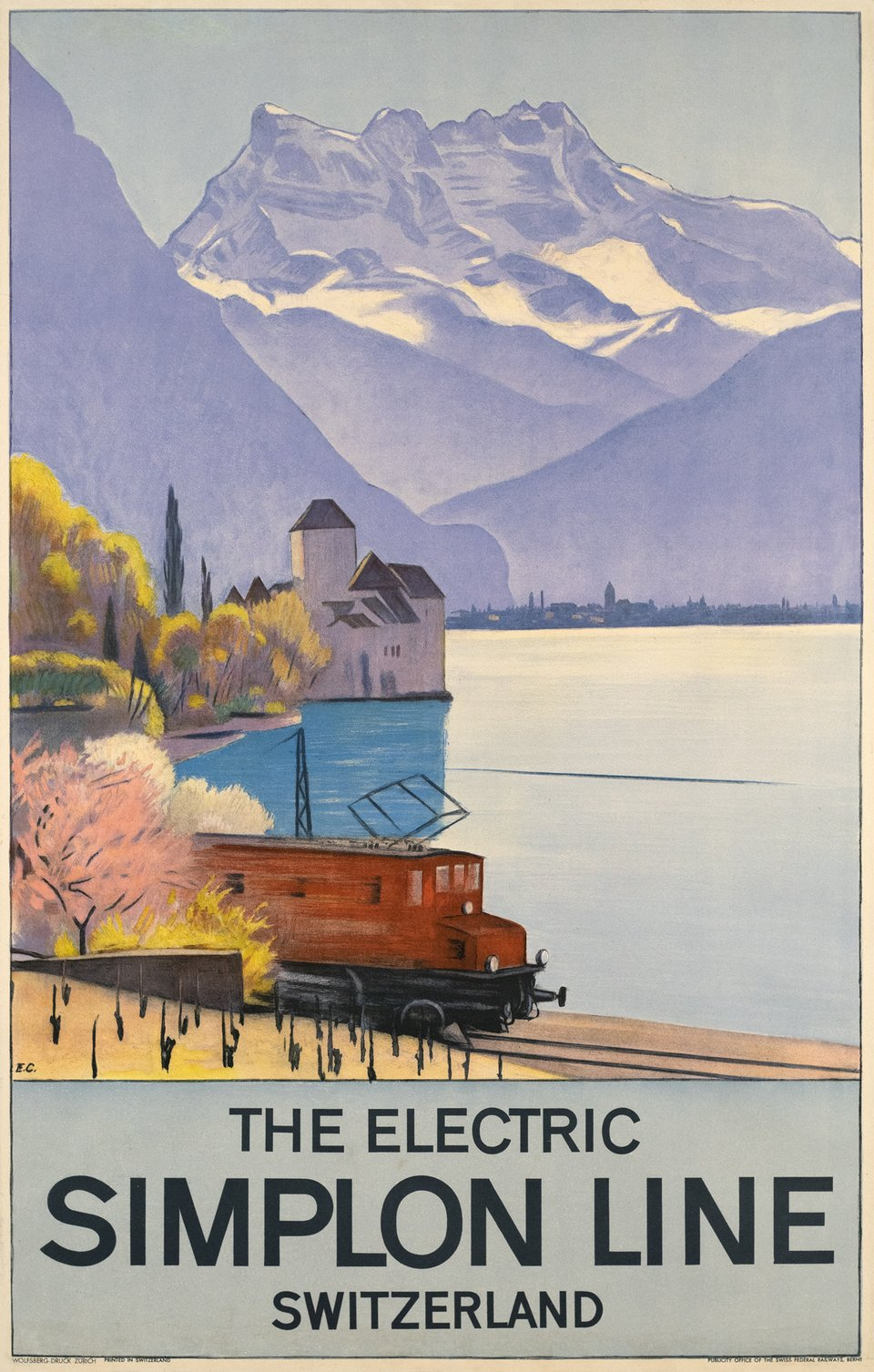 The Electric Simplon Line, Switzerland – Affiche ancienne – Emil CARDINAUX – 1928