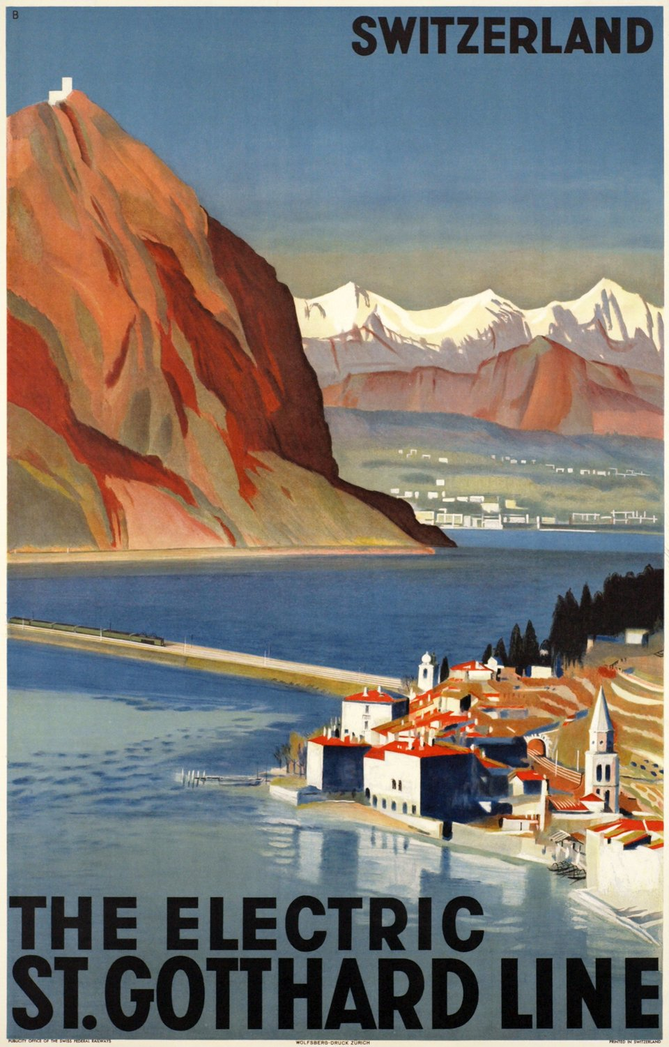 The Electric St-Gotthard Line, Switzerland – Affiche ancienne – Otto BAUMBERGER – 1935