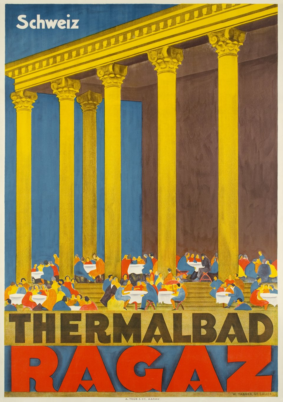 Thermalbad Ragaz – Affiche ancienne – Willy TANNER – 1928