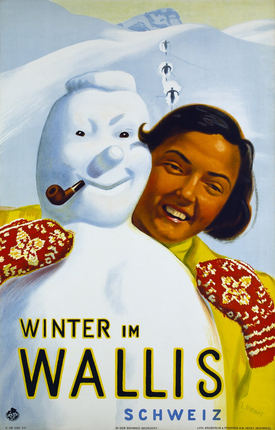 Winter im Wallis, Schweiz – Affiche ancienne – Eric HERMES – 1938