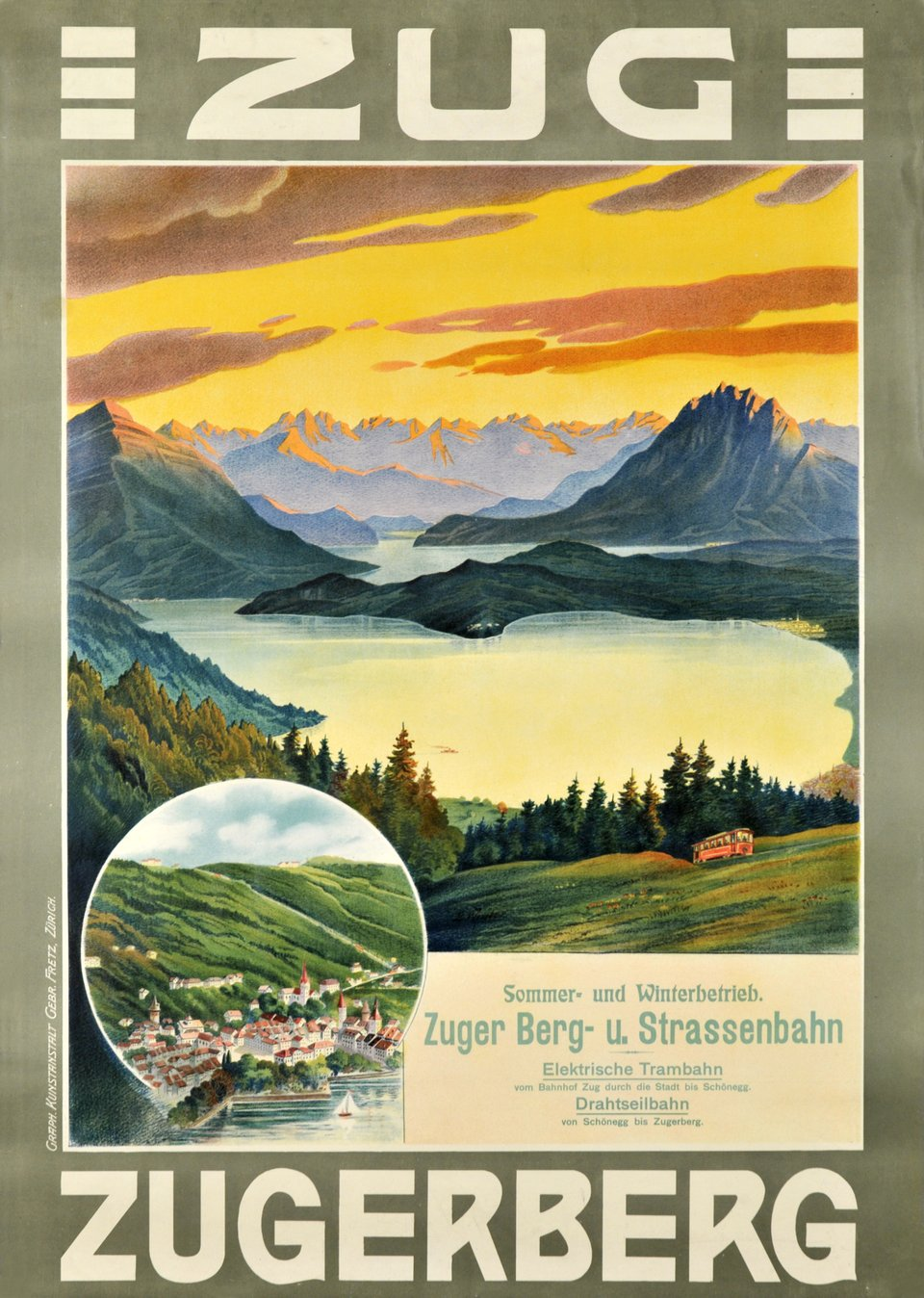 Zug, Zugerberg – Vintage poster – ANONYME – 1905