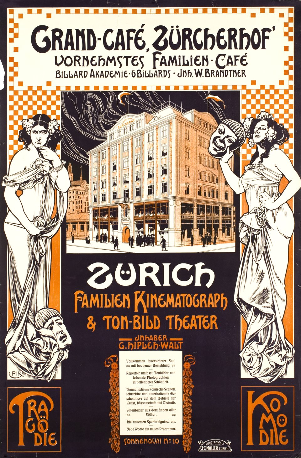 Zürich, Grand café Zürcherhof  – Affiche ancienne –  PIK, Paul KRAWUTSCHKE – 1908