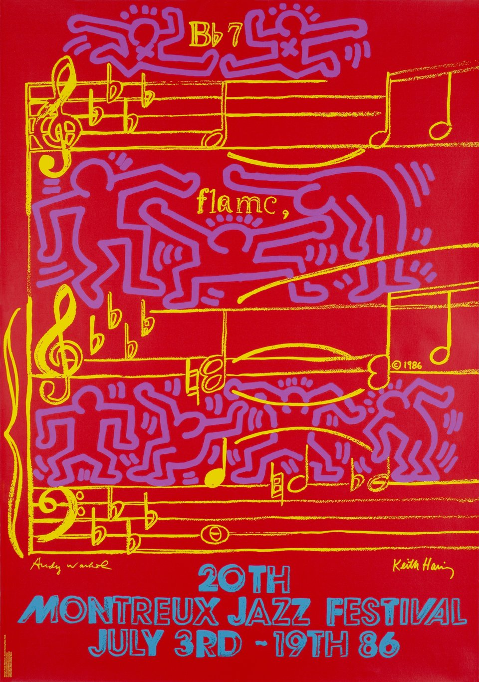 20ème Montreux Jazz Festival 1986 – Vintage poster – Keith HARING, Andy WARHOL – 1986