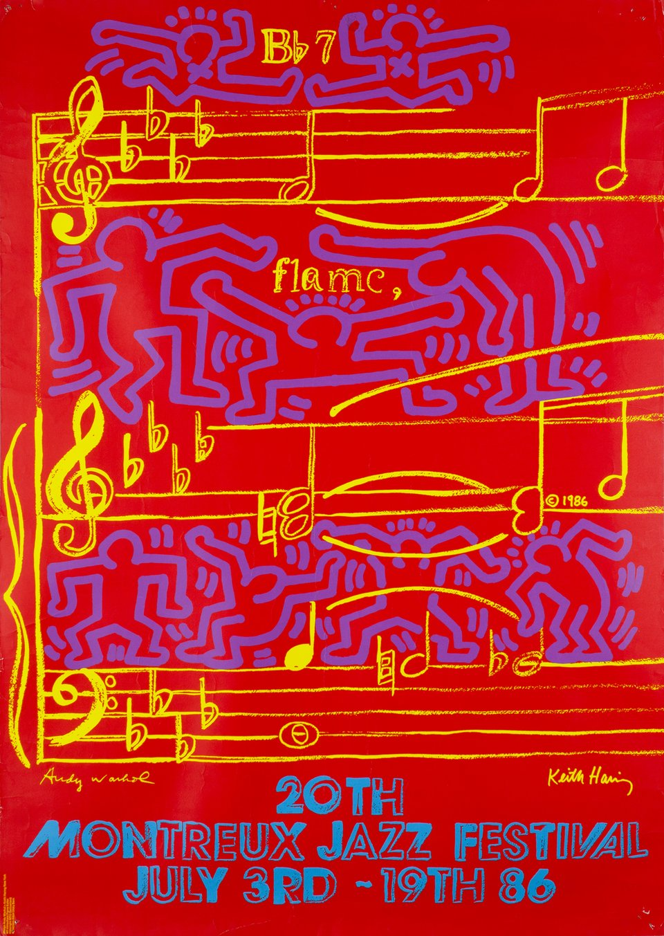 20th Montreux Jazz Festival 1986 – Vintage poster – Keith HARING, Andy WARHOL – 1986