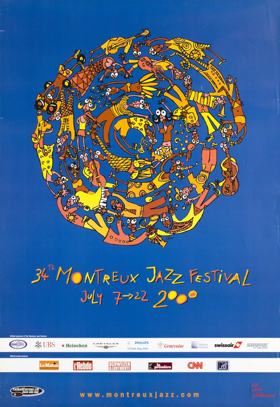 34th Montreux Jazz Festival, July 2000 – Vintage poster – Albin CHRISTEN – 2000