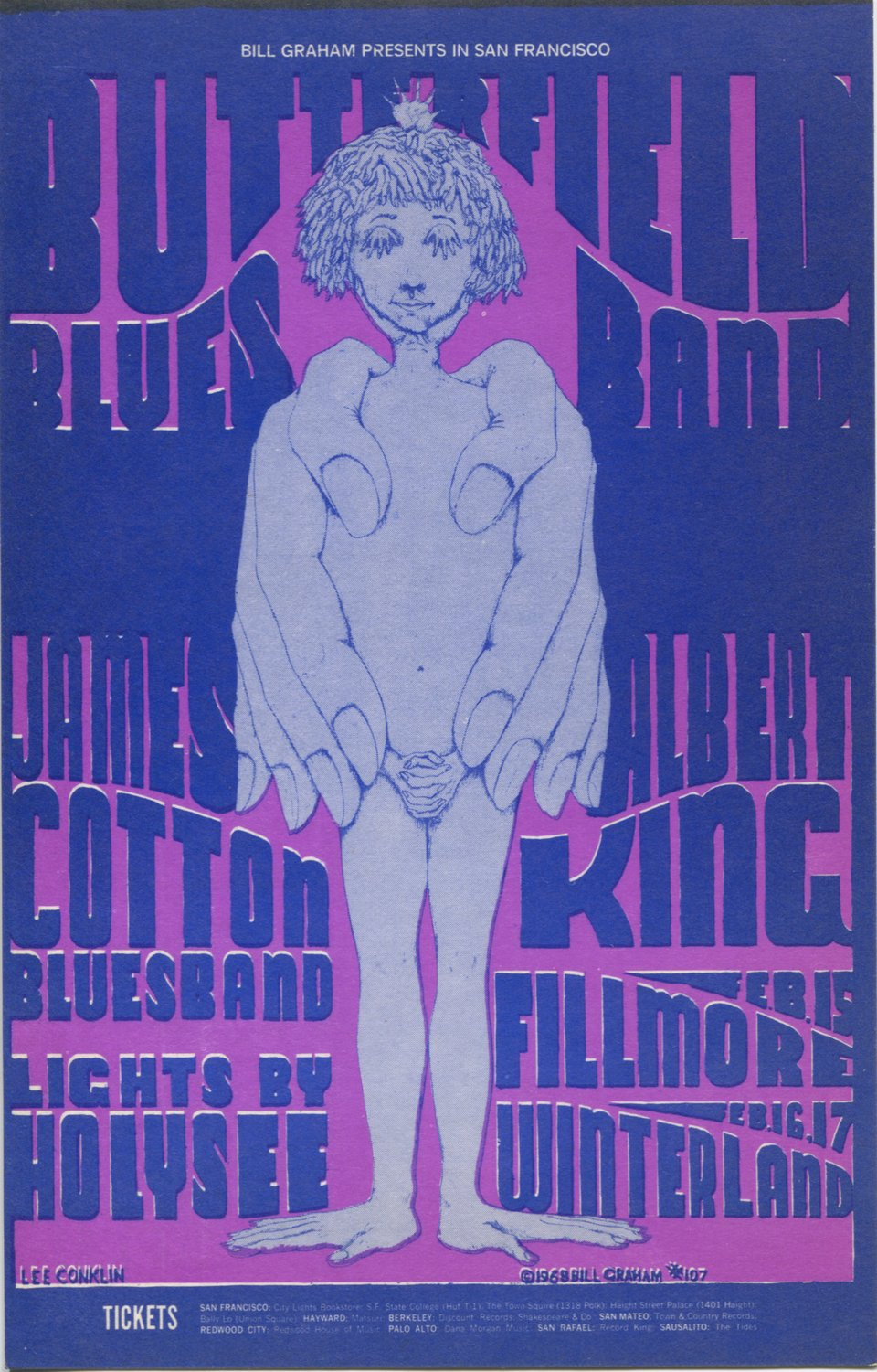 Albert King, Butterfield Blues Band, James Cotton Blues Band – Vintage poster – Lee Conklin – 1968