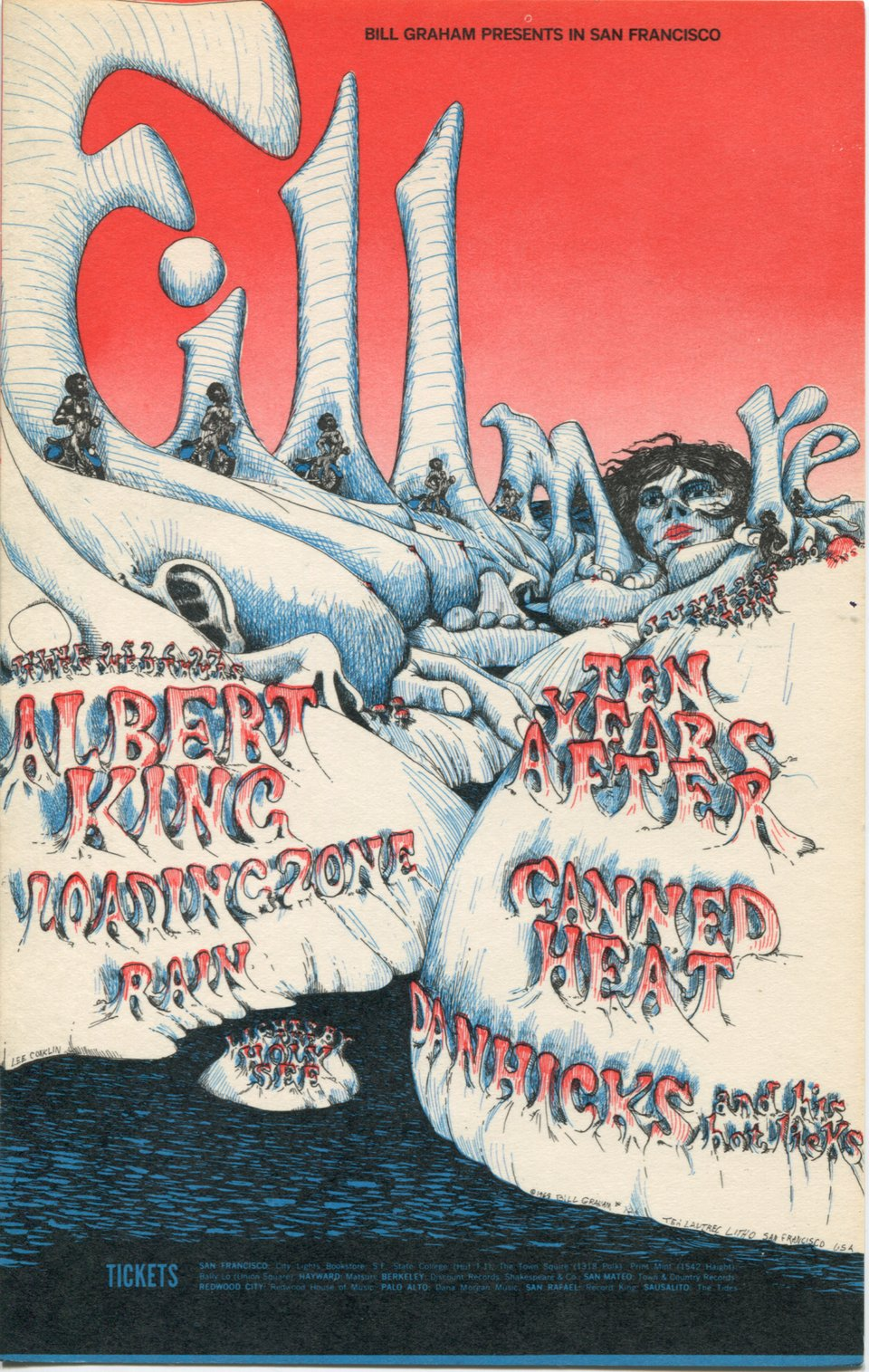 Albert King, Canned Heat, Dan Hicks and His Hot Licks, Loading Zone, Rain, Ten Years After – Vintage poster – Lee Conklin – 1967