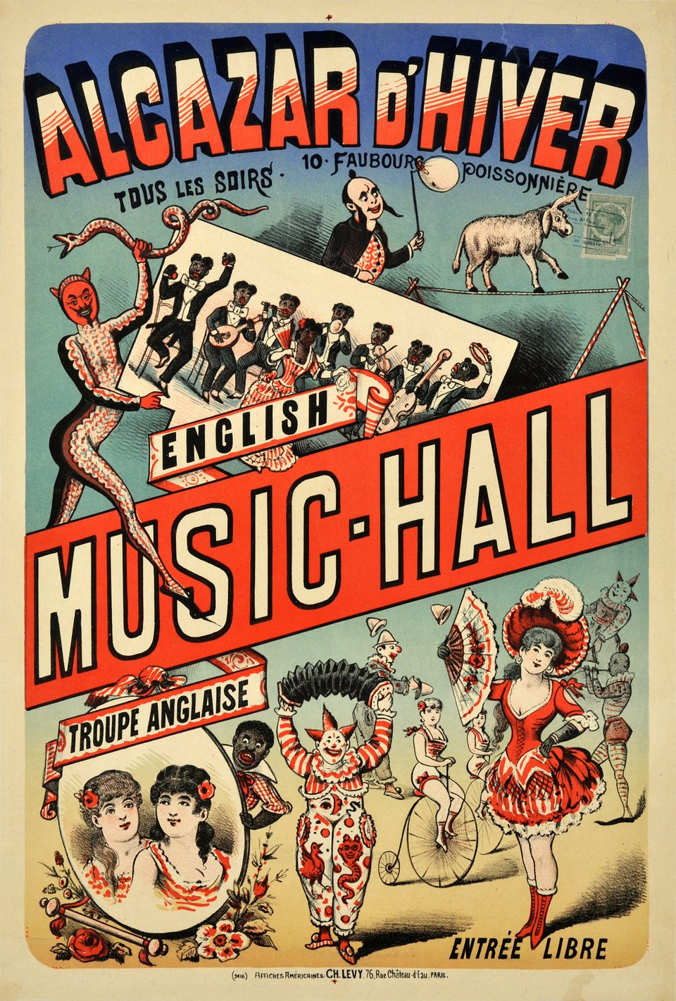 Alcazar d'Hiver, English Music - Hall – Affiche ancienne – Ch LEVY – 1895