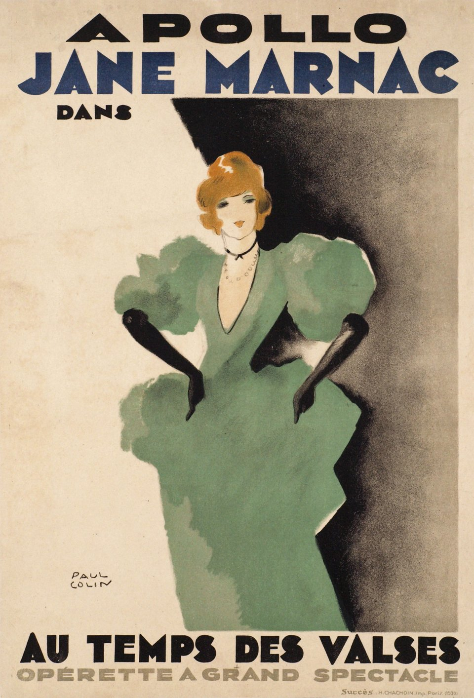 Apollo, Jane Marnac au temps des valses - Opérette à grand spectacle – Affiche ancienne – Paul COLIN – 1930
