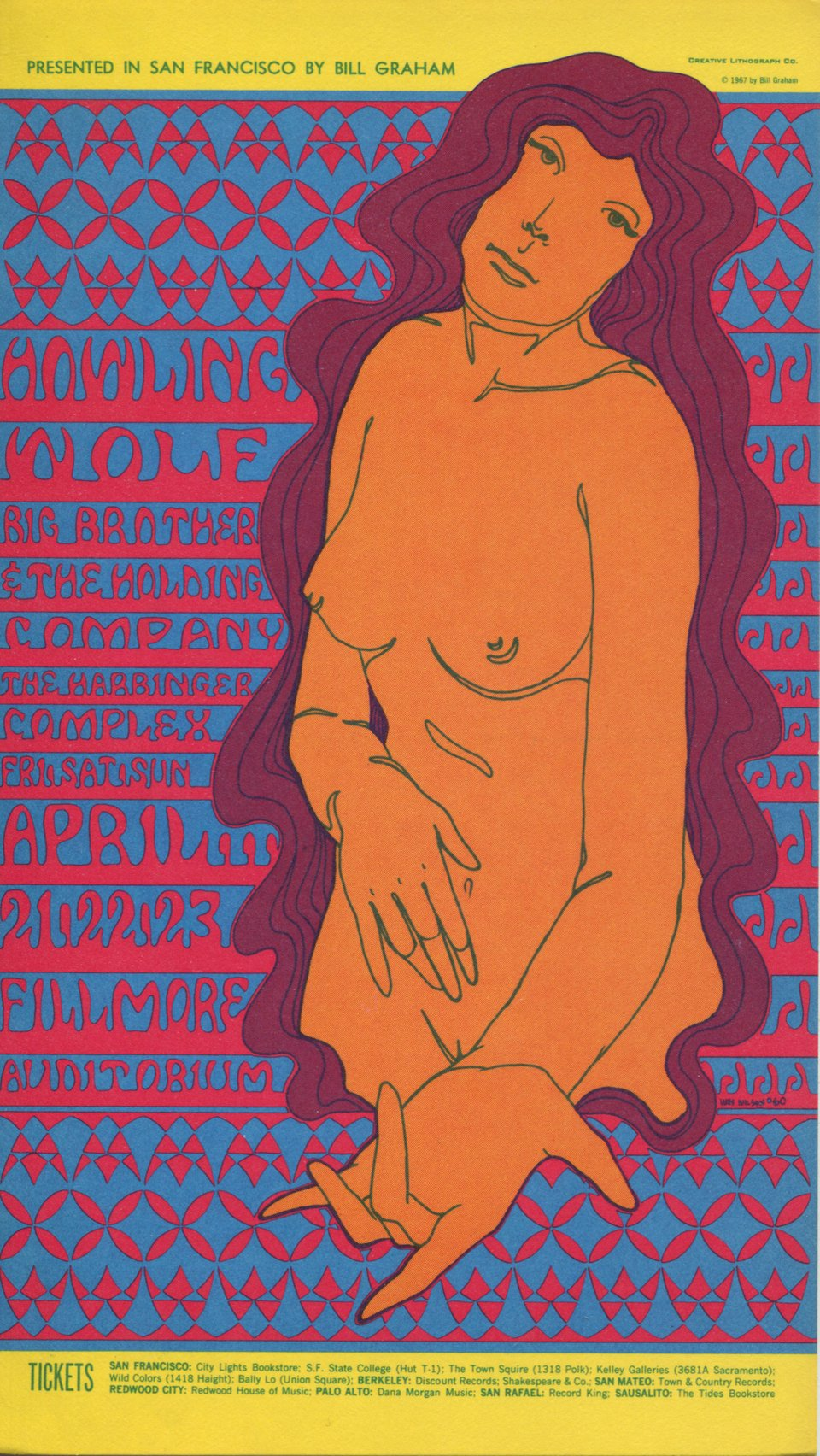 Big Brother and the Holding Company, Harbinger Complex, Howlin' Wolf – Vintage poster – Wes WILSON – 1967
